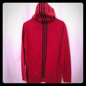 ADIDAS 3 Stripe Red Black Hoodie Boys Size XL